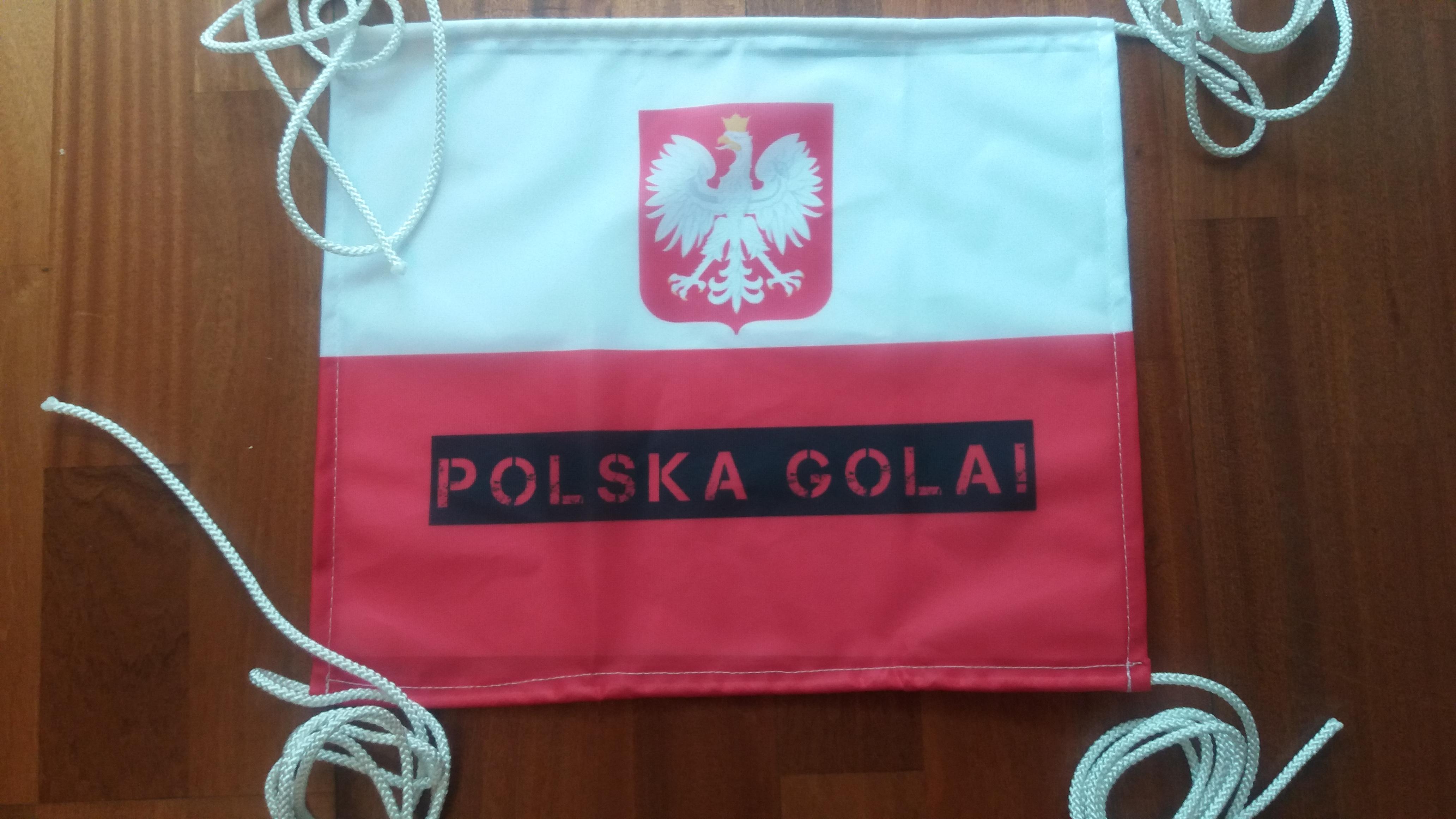 Flaga kibica ze sznurkami, mat. flagowy 110 g